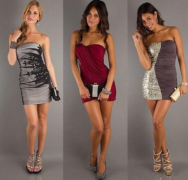 Фото клубных вечерних коротких платьев