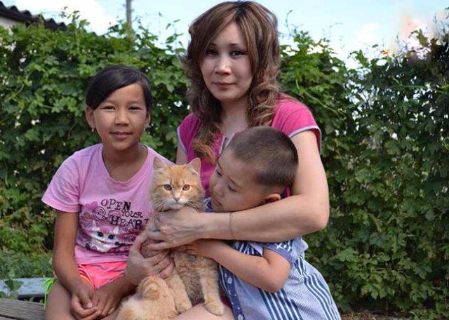 Кот спас детей от гадюки