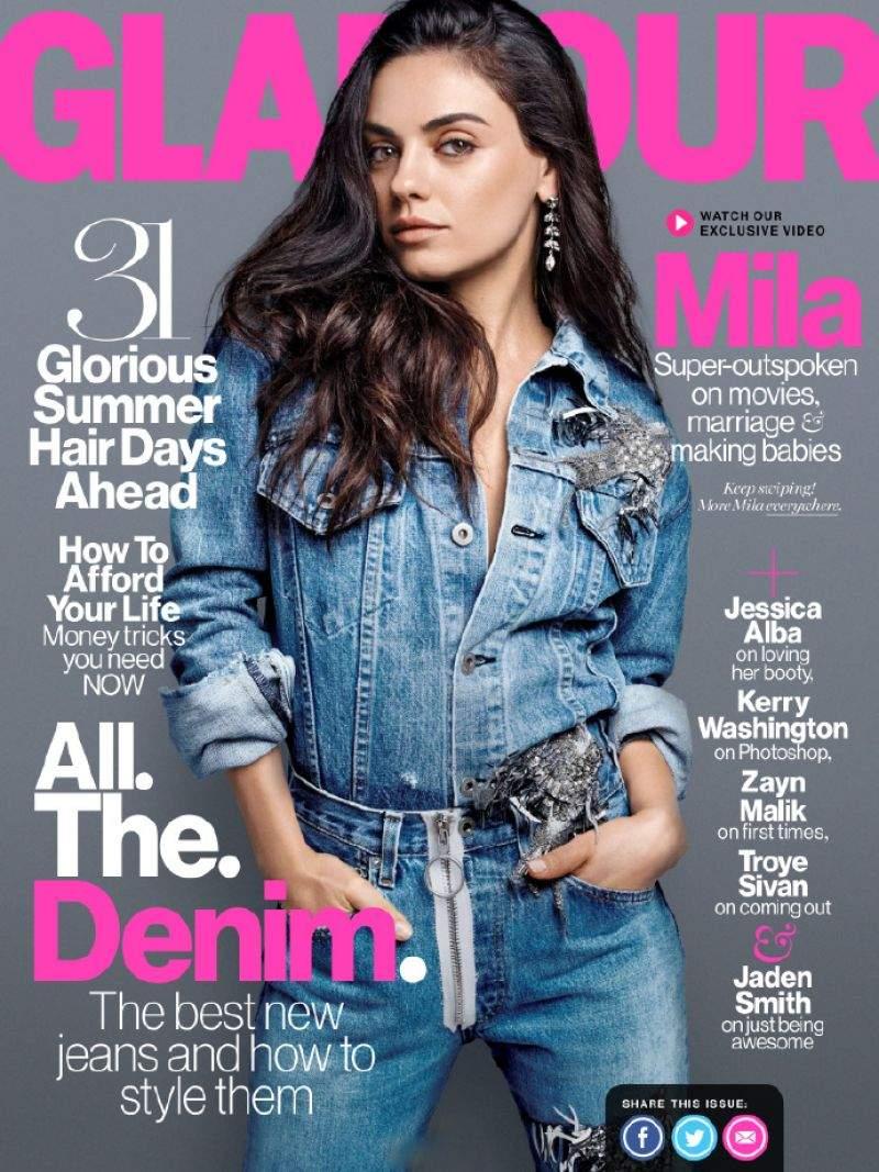 Мила Кунис стала звездой августовского журнала Glamour