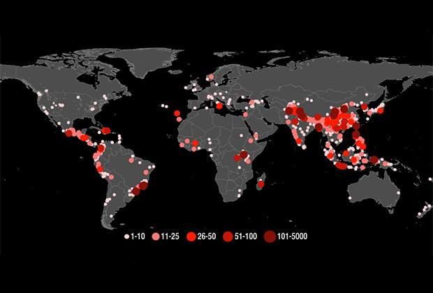 НАСА обнародовали карту мировых оползней
