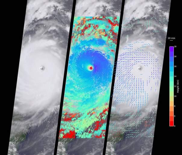 NASA  засняло тайфун на Тайване с космоса