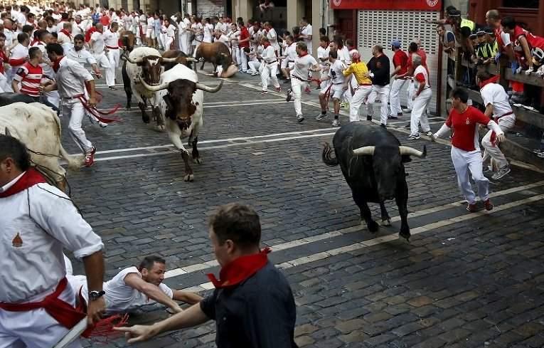 В Испании во время забега быков ранены несколько мужчин