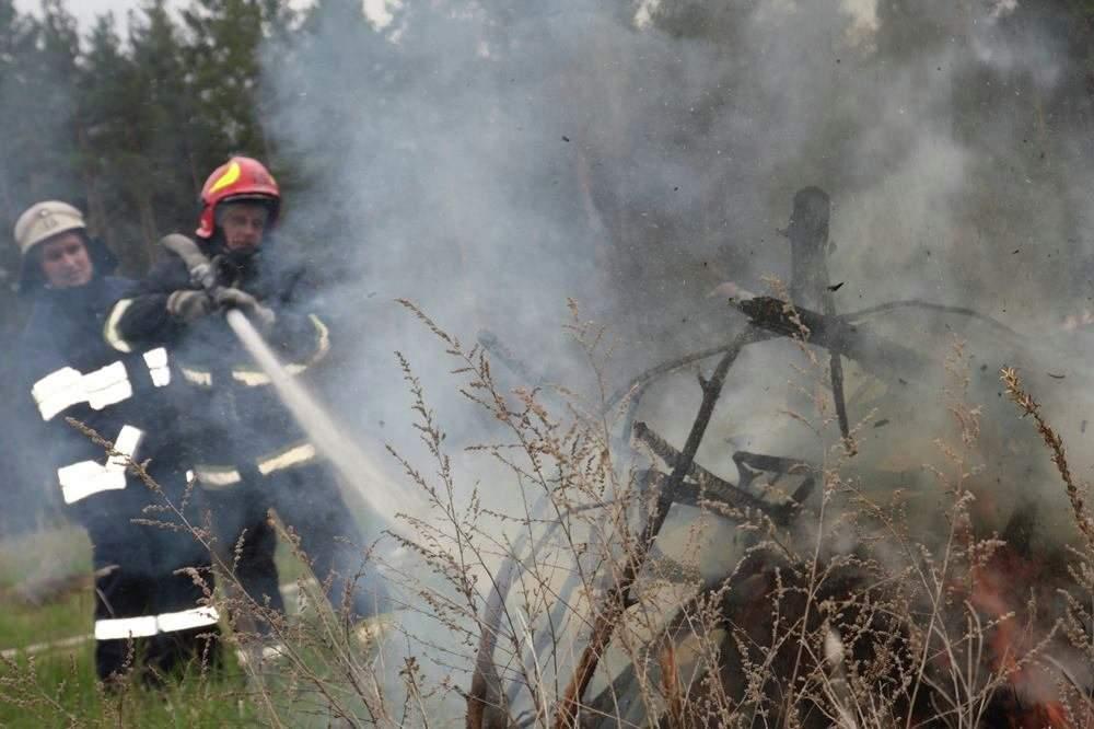 Фото с места возгорания в зоне ЧАЭС