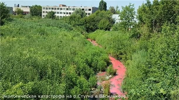 Под Киевом река обрела красный цвет