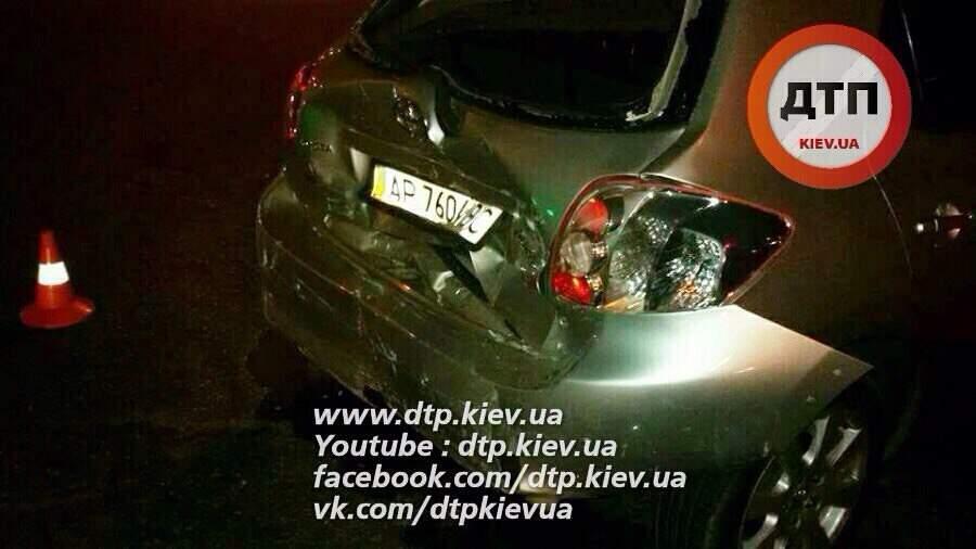 В столице водитель устроивший ДТП скрылся, потеряв свой государственный номер