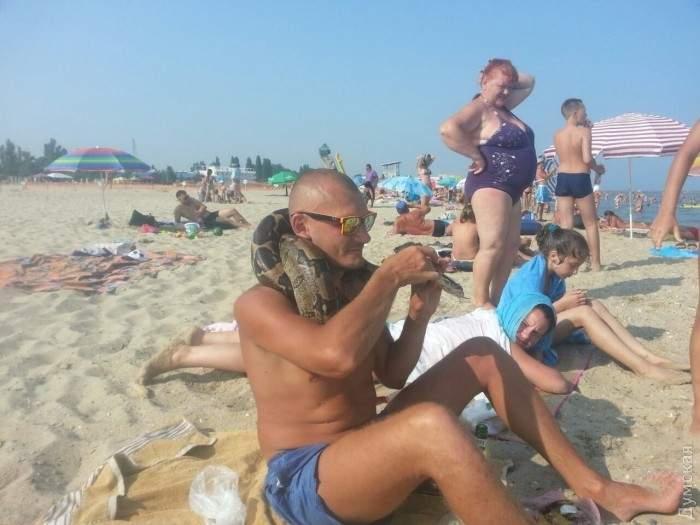 В Одесской области на пляже выловили двухметрового питона