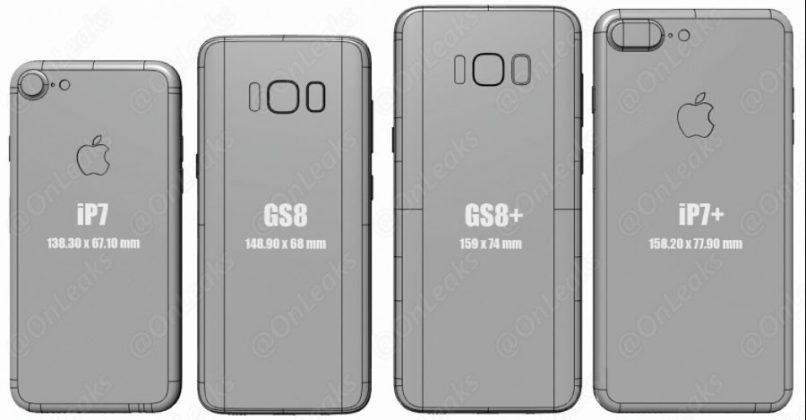 Samsung Galaxy S8 и S8 Plus против iPhone 7 и Galaxy S7: сравнение габаритов от инсайдера