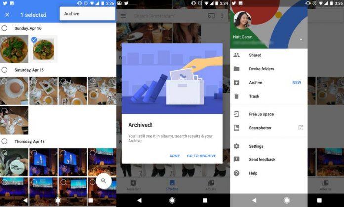 Google Photo теперь умеет архивировать фотографии