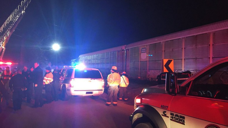 В США столкнулись грузовой и пассажирский поезда